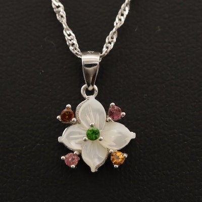 Sterling Silver Floral Necklace with Mother of Pearl and Citrine