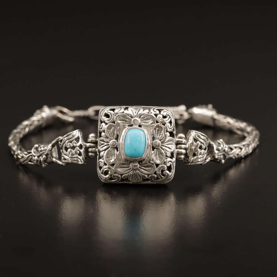 Sterling Silver Turquoise Bracelet with Floral Motif