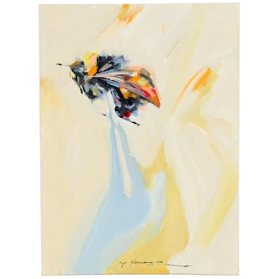Inga Khanarina Abstract Bumblebee Oil Painting, 2020