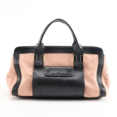 Chloé Alice Black and Pink Leather Two-Way Satchel