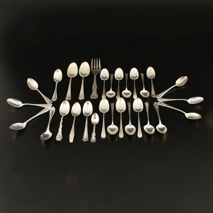 English Sterling Silver Spoons and Serveware, Circa 1900