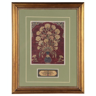 Folk Style Offset Lithograph of Floral Arrangement with Composite Relief