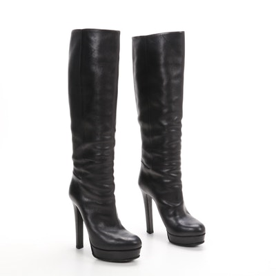 Gucci Black Leather Platform High-Heeled Tall Boots