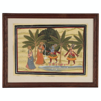 Indian Gouache Painting of Krishna with Two Women Getting Water