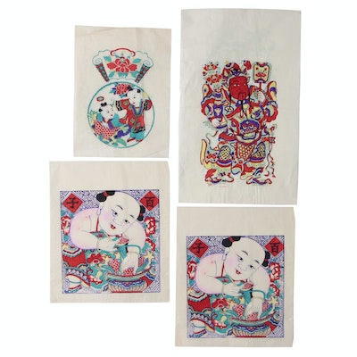 Chinese Nianhua Yangliuqing Style New Year Woodblock Prints, circa 1960