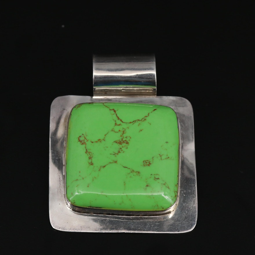 Mexican Sterling Silver Green Turquoise Pendant
