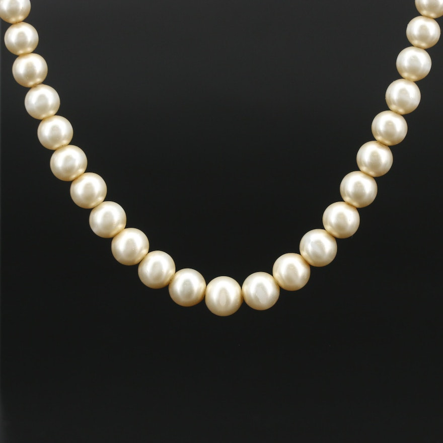 Vintage Deltah Faux Pearl Strand Necklace with 14K Clasp
