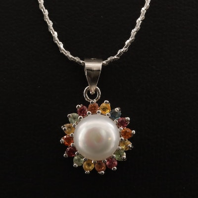 Sterling Silver Pearl Necklace with Sapphire Halo