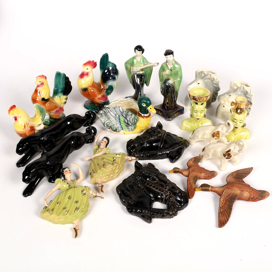 Ceramic Figurines Including Animals, People, Wall Hangings and Vases, Mid-20th C