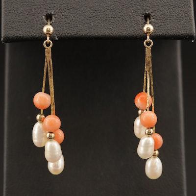 14K Pearl and Coral Dangle Earrings