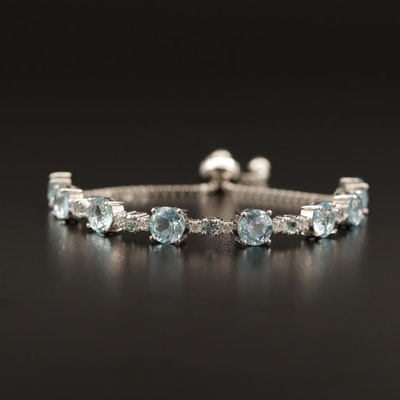 Sterling Silver Blue Topaz Link Bracelet with Adjustable Slide