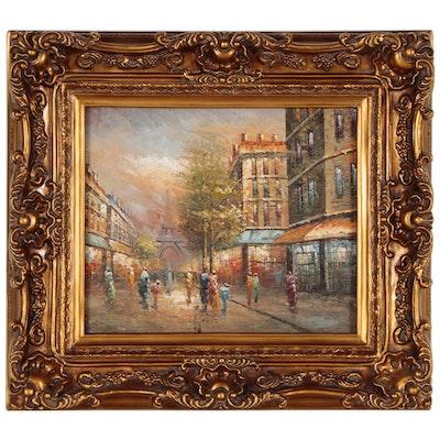 Parisian Street Scene Oil Painting, 21st Century