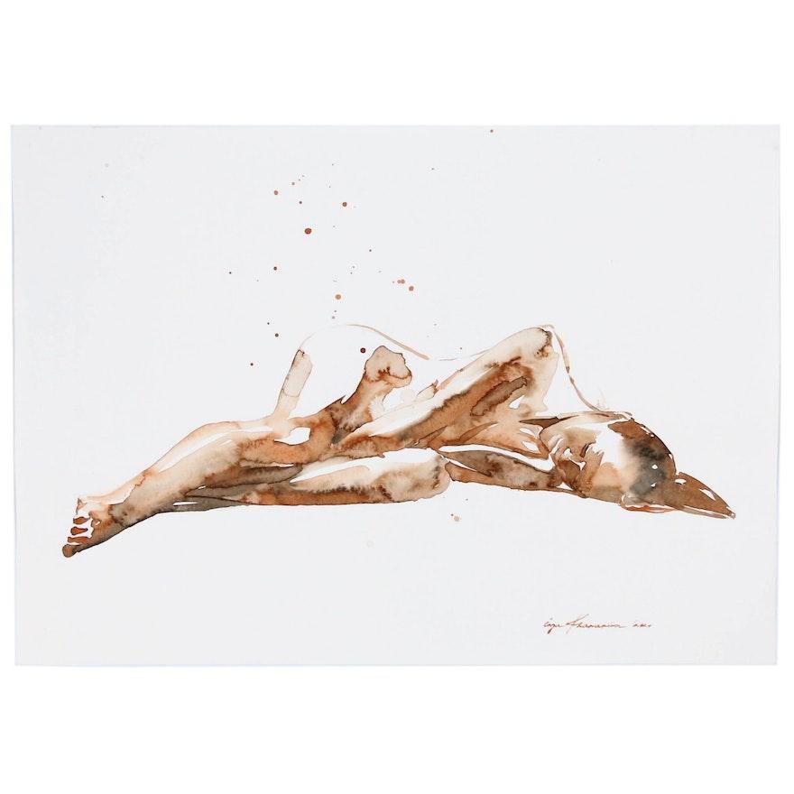 Inga Khanarina Watercolor Painting Reclining Female Nude, 2020