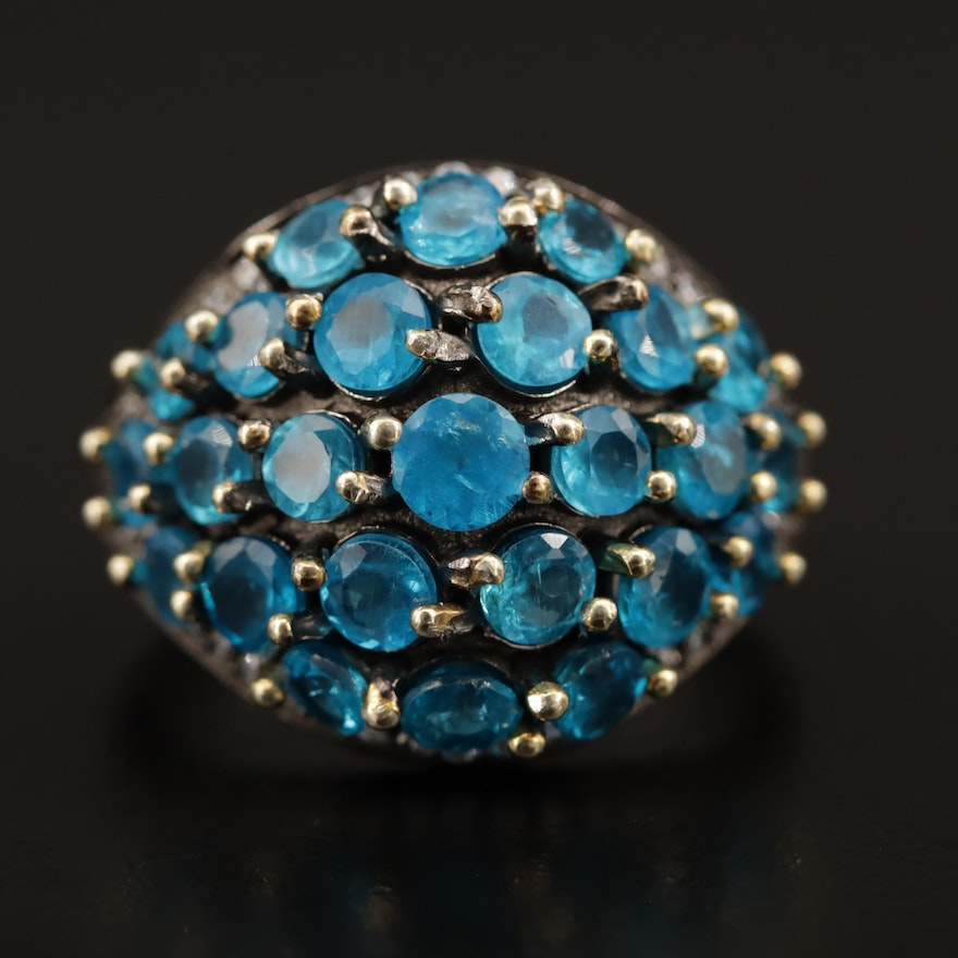 Sterling Silver Apatite and Cubic Zirconia Domed Cluster Ring