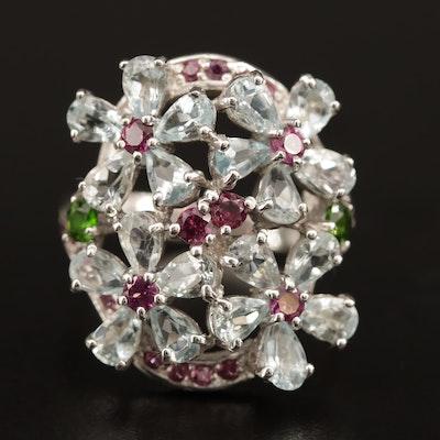 Sterling Silver Gemstone Floral Patterned Ring