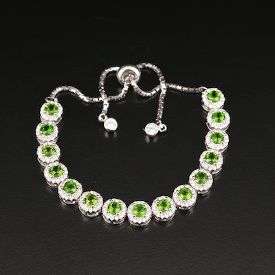 Sterling Silver Diopside and Cubic Zirconia Bracelet
