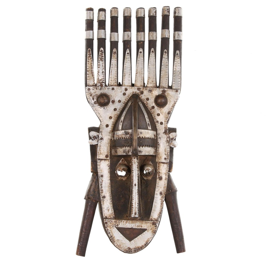 Marka N'tomo Style Metal Plated Wooden Mask, 20th Century