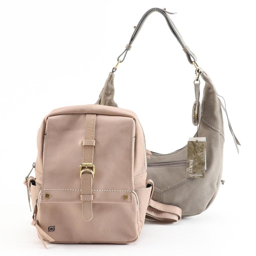 Børn Leather Hobo Bag in Charcoal and Mini Backpack