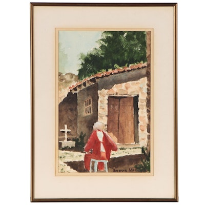 Steve McElroy Watercolor Painting of a Churchyard Scene, Late 20th Century