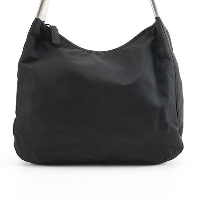 Prada Nero Tessuto Spazzol and Leather Shoulder Bag