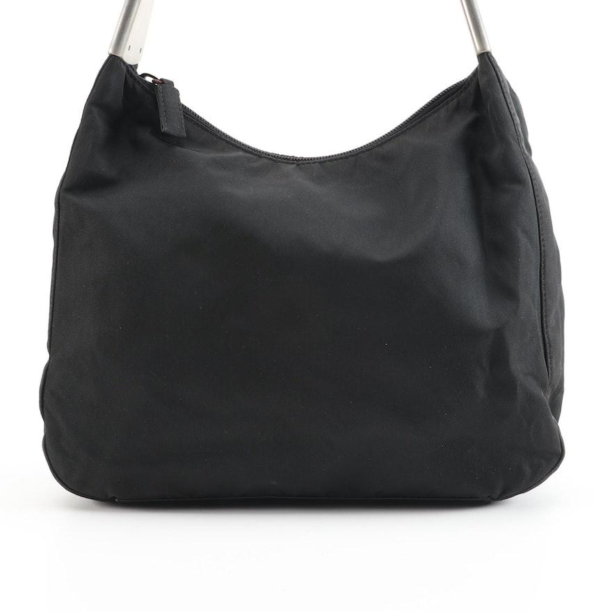 Prada Nero Tessuto Spazzol and Leather Shoulder Bag