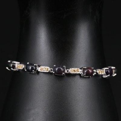Sterling Silver Opal and Sapphire Bracelet