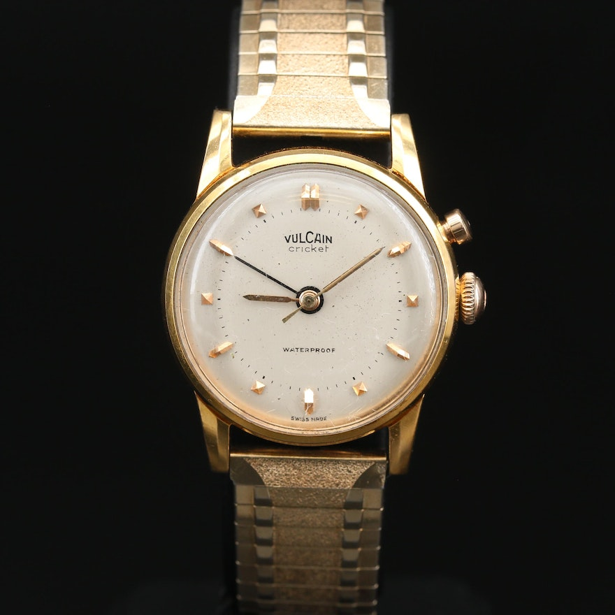 "Swiss Vulcain ""Cricket"" Alarm Stainless Steel and Gold Plate Wristwatch"