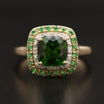 10K Green Tourmaline and Diamond Double Halo Ring