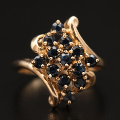 10K Sapphire Bypass Ring Featuring Waterfall Cluster