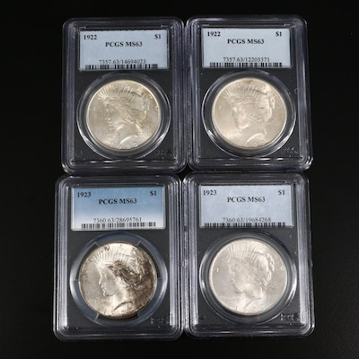 Four PCGS Graded MS63 1922 and 1923 Peace Silver Dollars