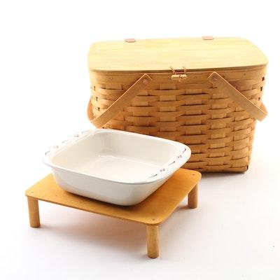 Longaberger Handwoven Picnic Basket and Ceramic Baking Dish, Late 20th Century
