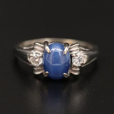 Vintage Shiman Mfg. Co. 14K Star Sapphire and Diamond Ring