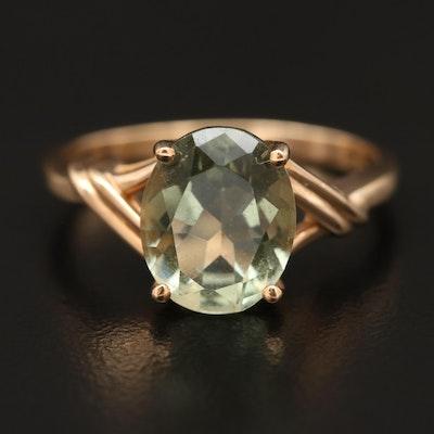 10K Prasiolite Solitaire Ring