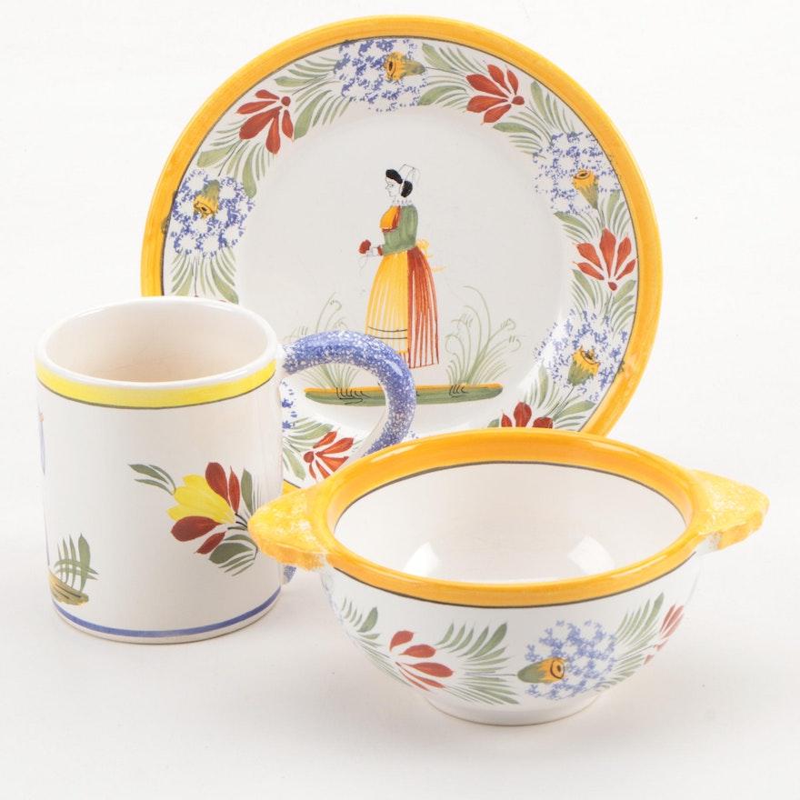 Henriot Quimper Hand-Painted Ceramic Mug, Bowl and Plate