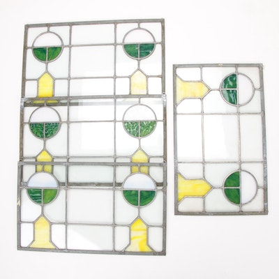 Four Arts and Crafts Leaded Slag Glass Window Panes, Antique