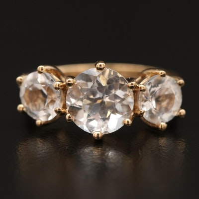 10K Topaz Three Stone Ring