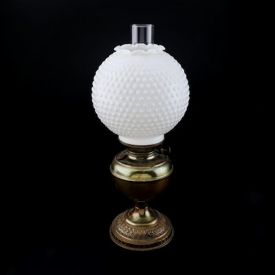 Converted Bradley & Hubbard Oil Lamp with Hobnail Milk Glass Shade