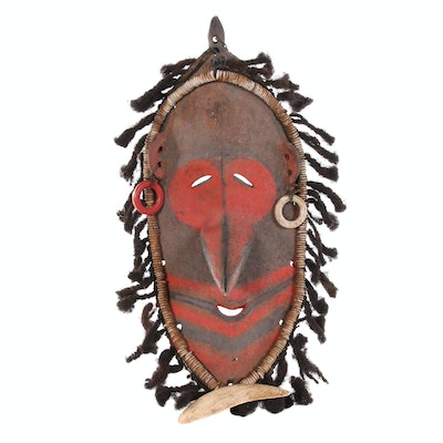 Lower Sepik River Mask with Human Hair and Embellishments, 21st Century