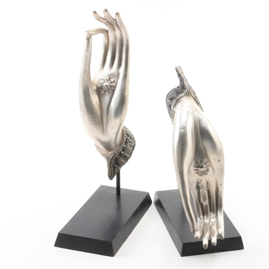 Thai Silver Tone Metal Hands of Buddha in Vitarka Mudra