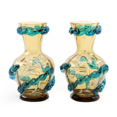 Pair of Bohemian Enameled Amber Glass Vases with Applied Glass Decoration