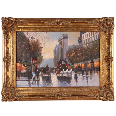 Street Scene Oil Painting with Horse-drawn Carriages