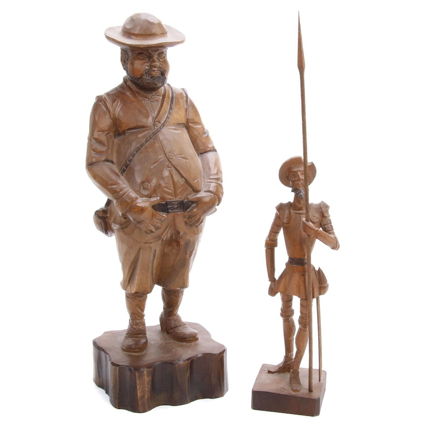Cermobel-Art S.L. Hand-Carved Wood Sculpture and Don Quixote Figure