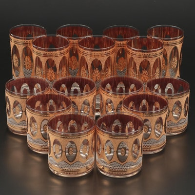 """Culver """"Regency White"""" Old Fashioned and Highball Glasses, Mid-20th Century"""