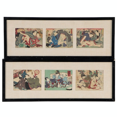 Japanese Erotic Shunga Woodblock Prints, 20th Century