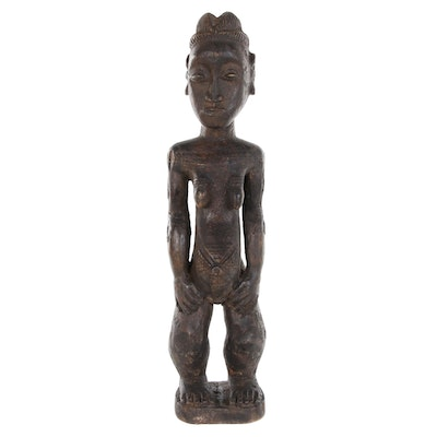 Baule Wood Carved Maternity Figure, 20th Century