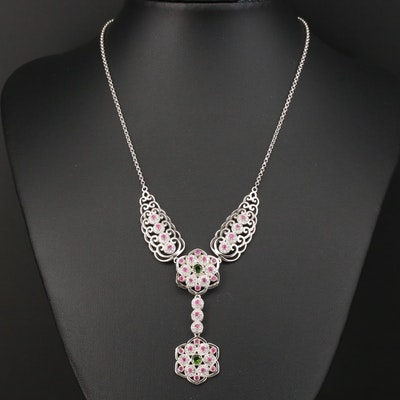 Sterling Silver Openwork Mandala Drop Necklace with Diopside and Ruby