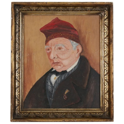 Naïve Portrait Oil Painting of Man in a Red Beret, Mid-20th Century
