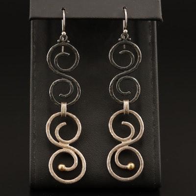 Gurhan Sterling Scrollwork Dangle Earrings