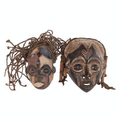 Chokwe Style Carved Wood Masks, 20th Century