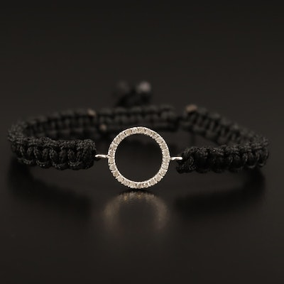 Knotted Cord Bracelet with 14K Diamond Circle Charm